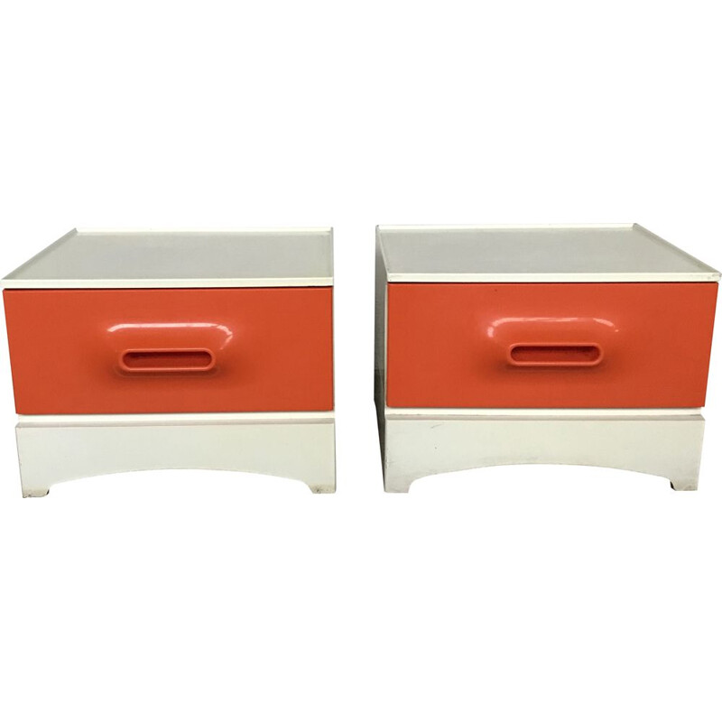 Vintage white and orange bedside table by Marc Held for Prisunic, 1960s