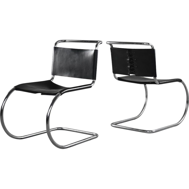 Set of 2 vintage MR10 Cantilever Black Leather Chairs by Ludwig Mies Van der Rohe for Knoll