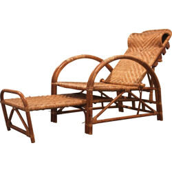Lounge chair and foot rests in rattan - 1970s