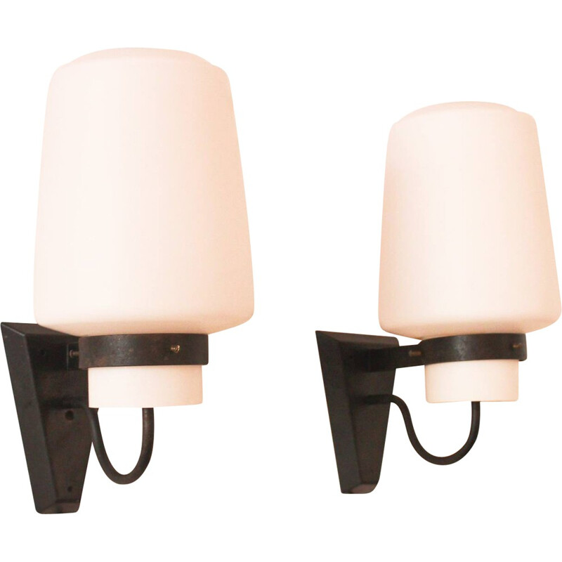 VVF pair of wall lamp in opaline and metal, Georges CANDILIS - 1960s