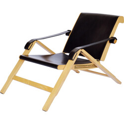 "Armchair ""Week End"" in beech, leather and brass, Marco ZANUSO - 1994"
