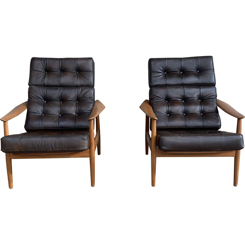 Pair of vintage leather armchairs FD164 by Arne Vodder for France & Søn, 1960s