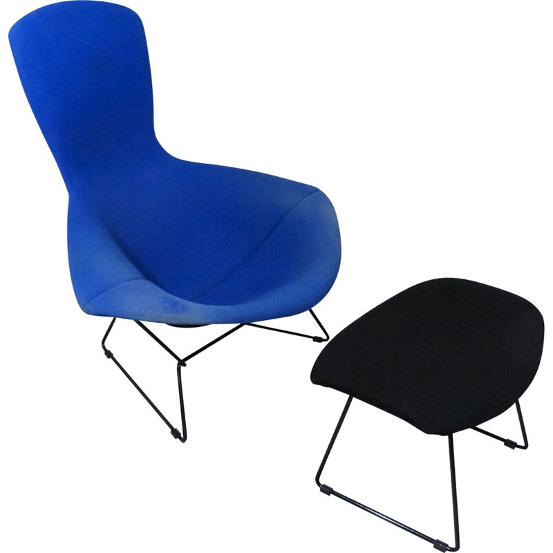 Vintage Bird Lounge Chair & Footstool by Harry Bertoia, 1980s