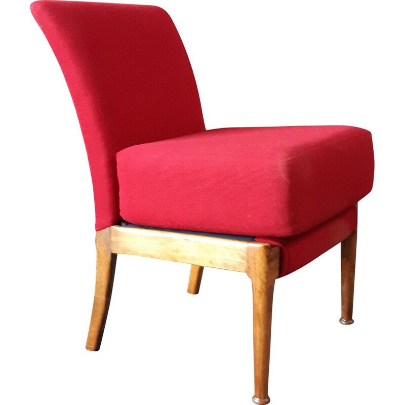 Vintage teak and red fabric Armchair by Parker Knoll