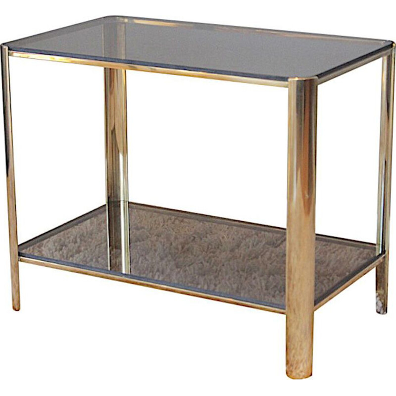 Vintage side table in bronze and tinted glass by Jacques Quinet for Broncz, 1960s