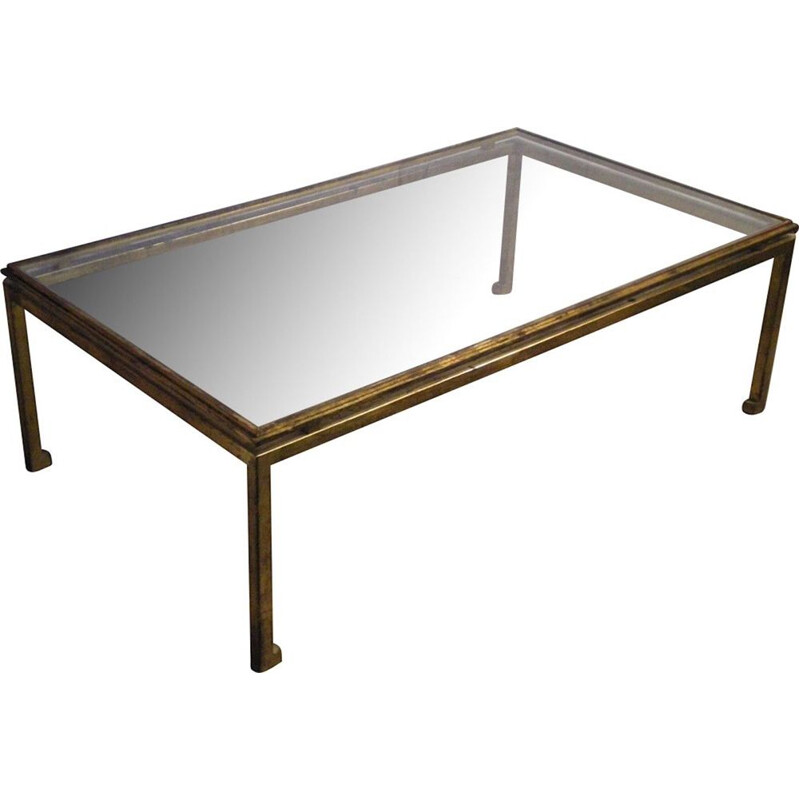 Vintage coffee table in glass and wrought iron gilded with leaf by Henri Pouenat for Maison Ramsay