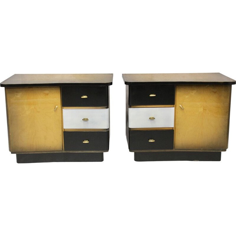 Pair of vintage two-tone black and white bedside tables