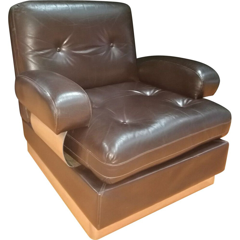Vintage chocolate color leather armchair by Jacques Charpentier 1970