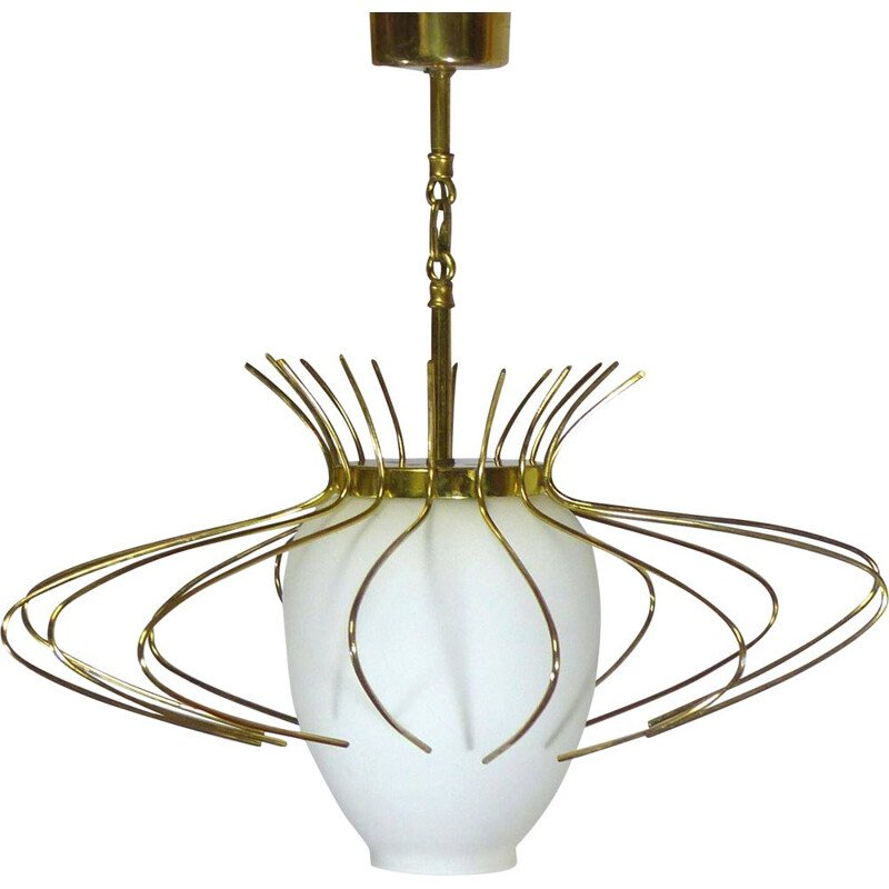 Vintage hanging lamp in opaline glass and brass hoops