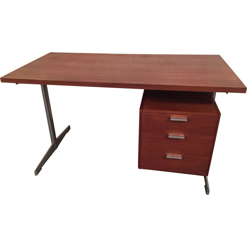 Vintage desk with chrome legs by Cees Braakman for Pastoe 1960s