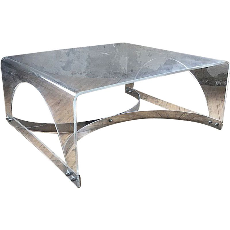 Vintage Coffee Table In Plexiglass And Transparent Lucite 1970s