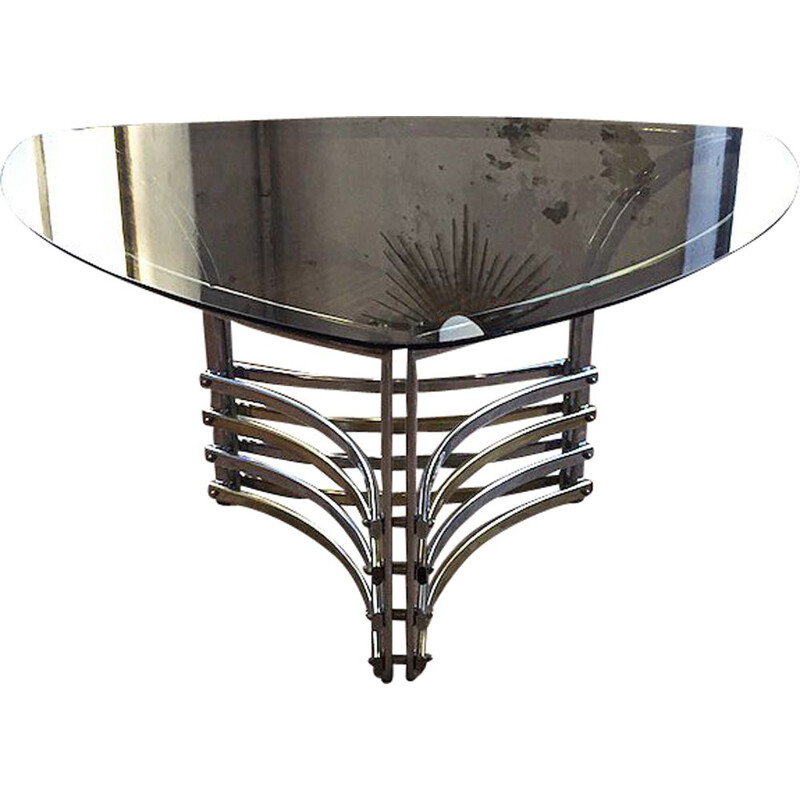 Vintage dining table in smoked glass and chromed metal, Italy, 1970
