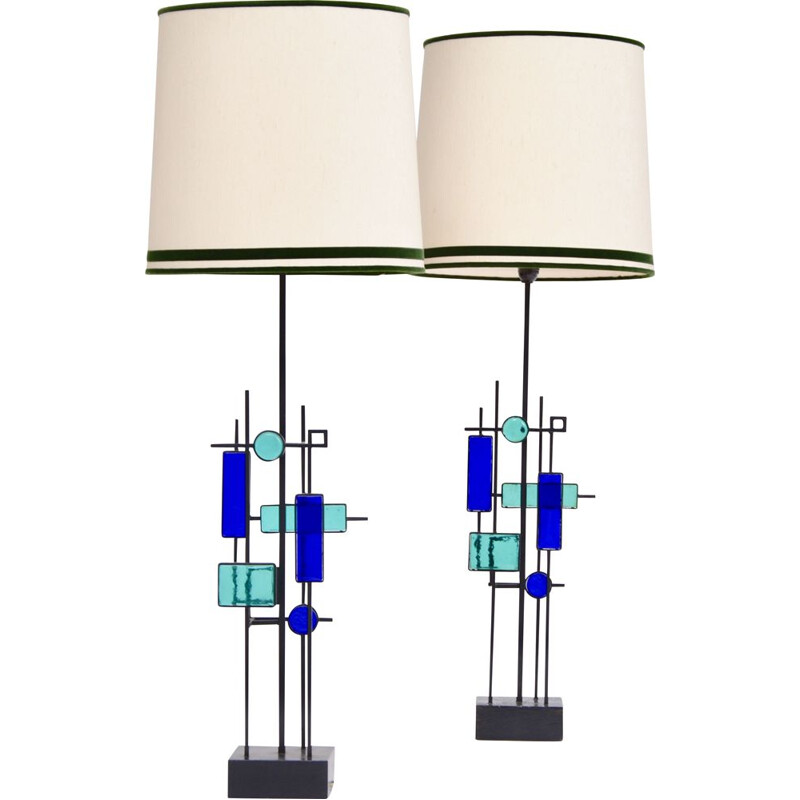 Pair of vintage tall iron and glass table lamps by Svend Aage Holm Sorensen