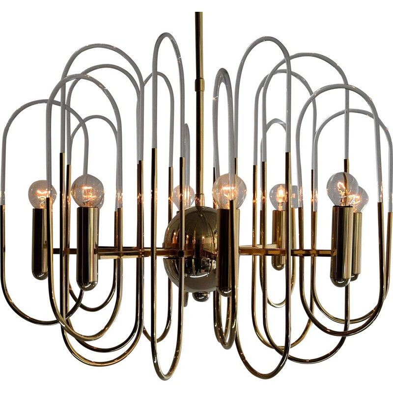 Vintage Hollywood Regency Brass and Glass Chandelier by Gaetano Sciolari