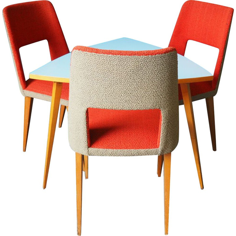 Vintage orange dining set with 3 chairs, 1960
