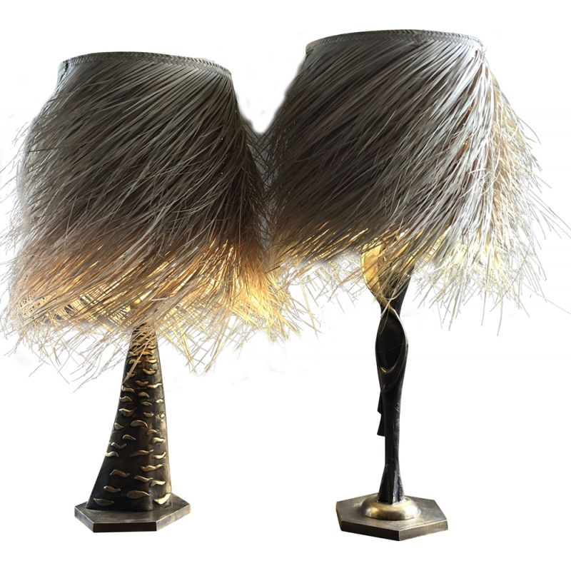 Pair of vintage bronze lamps with palm fiber shade by Ottaviani 1960