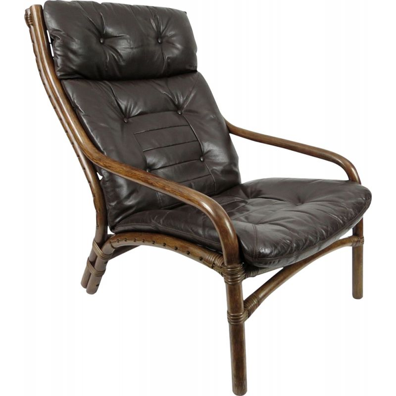 Vintage Danish leather and bamboo lounge chair, 1960s