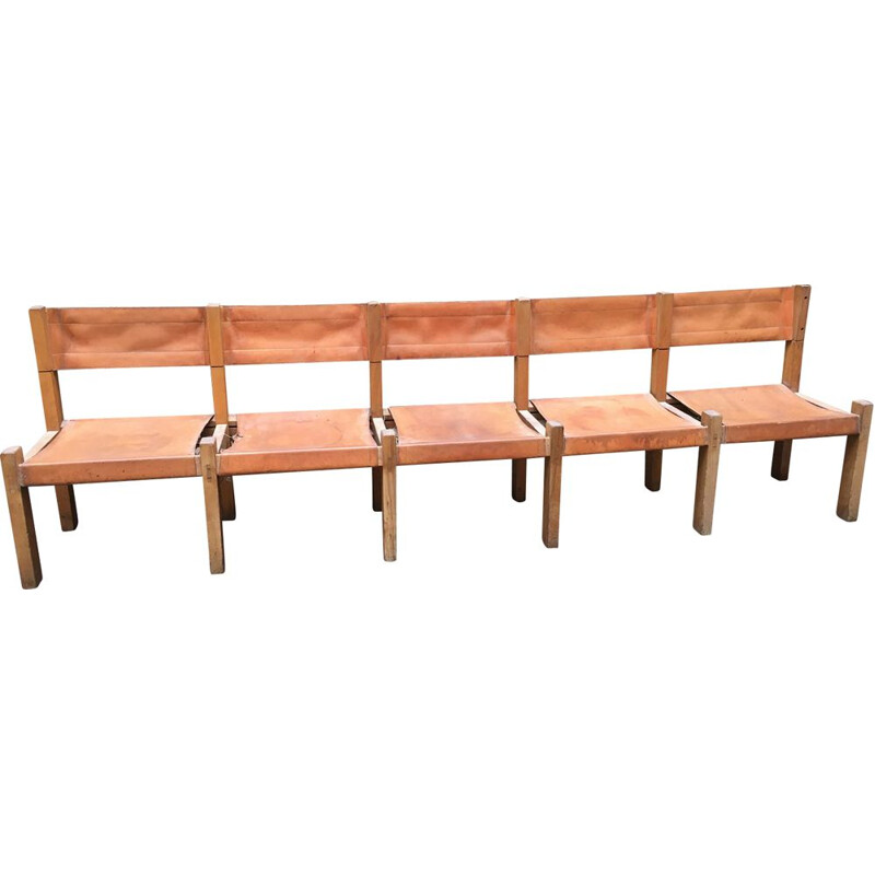 Vintage bench made for the Les Arcs tourist house by Pierre Chapo 1969