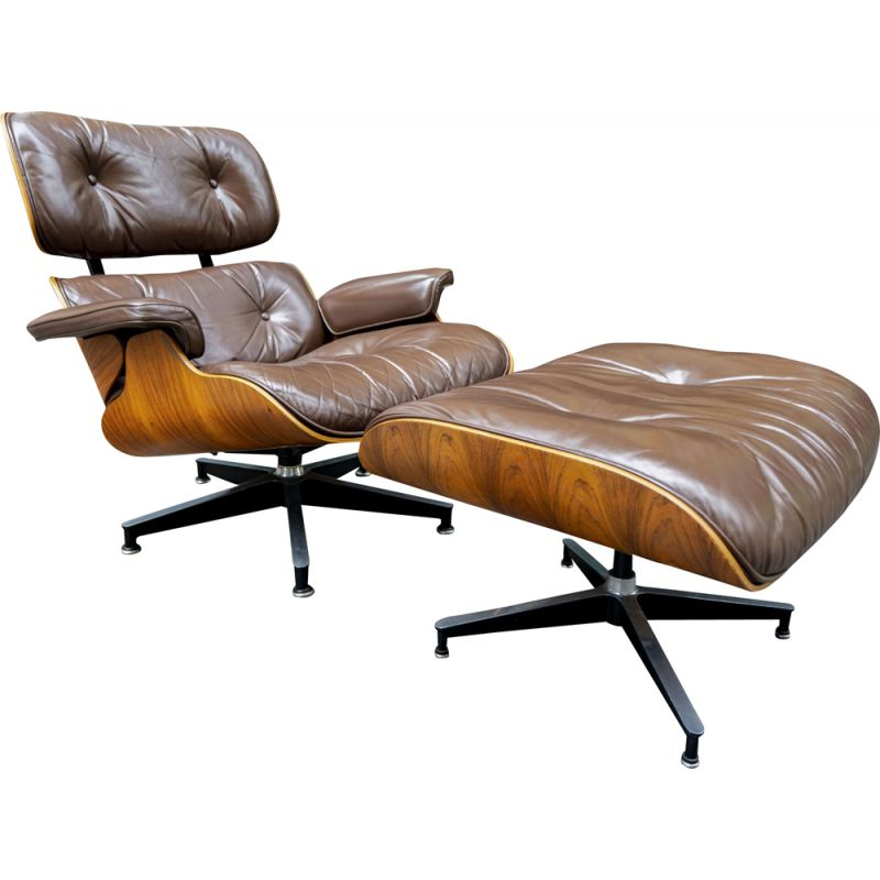 Eames brown vintage armchair and ottoman for Herman Miller US, 1970
