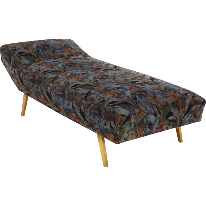 Vintage daybed with floral upholstery, 1950s