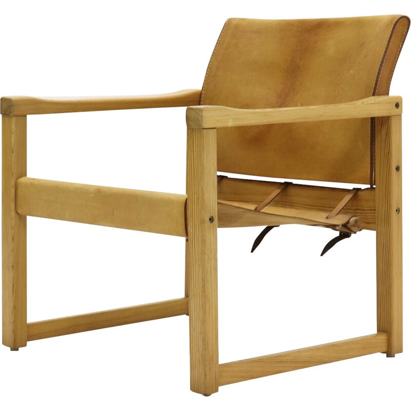 Pine and leather vintage Safari armchair by Karin Mobring for IKEA, 1970s