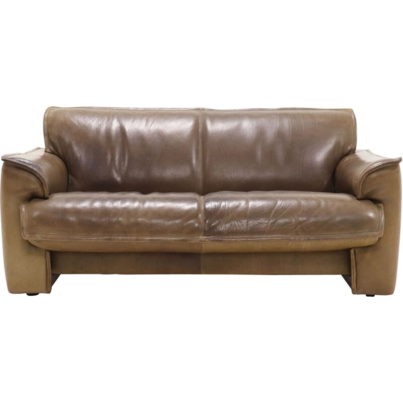 Leather vintage 2,5-seater sofa from Leolux, 1970s