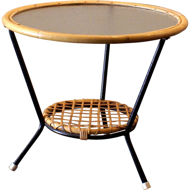 Coffee table in rattan, glass and metal, Dirk VAN SLIEDREGT - 1960s