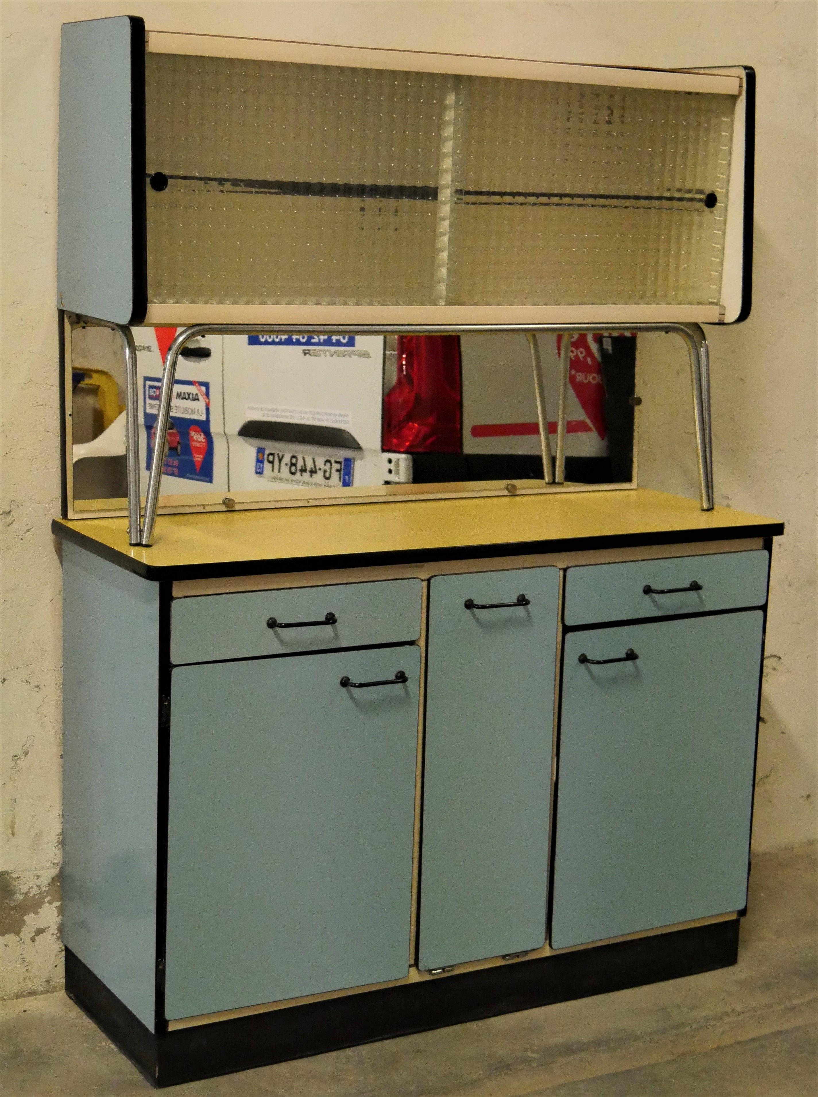 Vintage Blue Formica Kitchen Cabinet 1950 Design Market