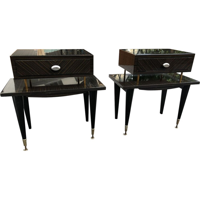 Pair of Art Deco vintage bedside tables, 1940