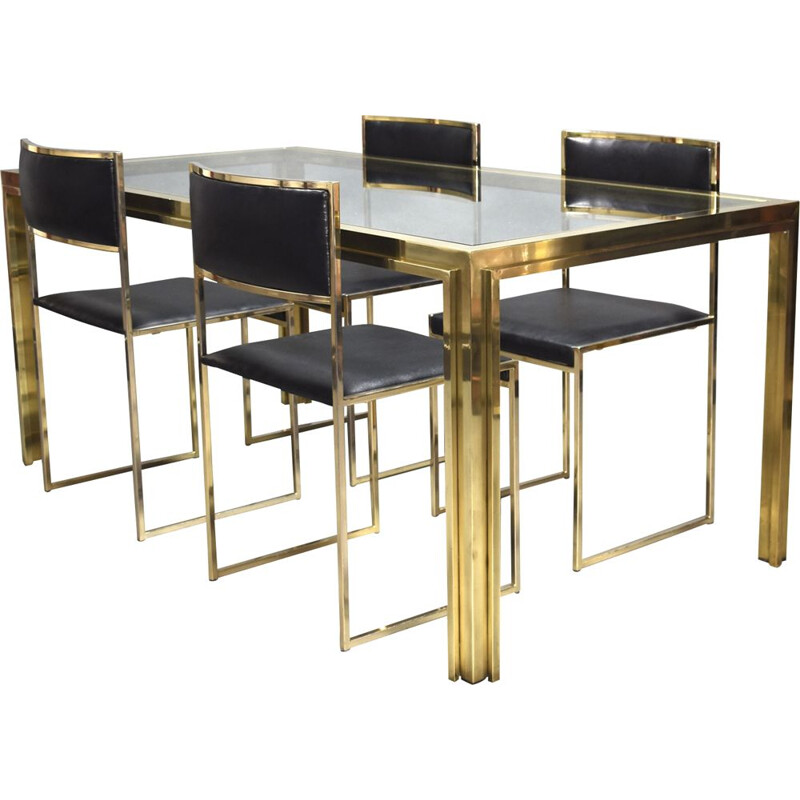 Vintage dining set in gold plate and brass, Italy, 1970s
