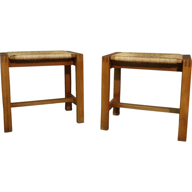 Pair of vintage elm wood and straw stools, 1970s