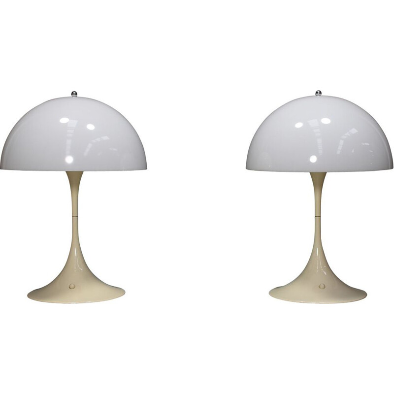 Pair of vintage Panthella tables lamps by Verner Panton for Louis Poulsen, Denmark, 1971