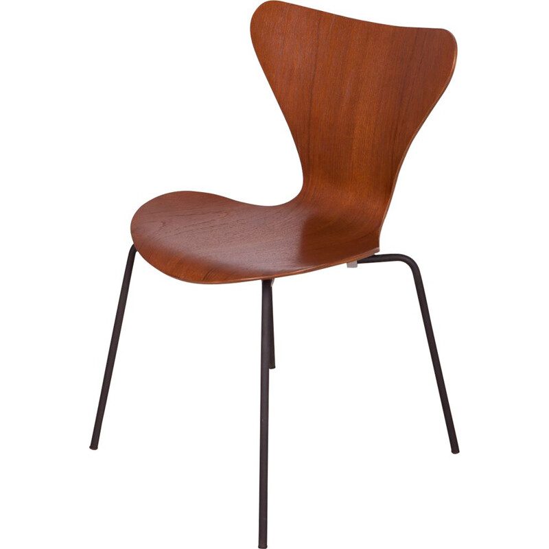 Vintage steel and Teak Model 3107 Dining Chair by Arne Jacobsen for Fritz Hansen, 1960s
