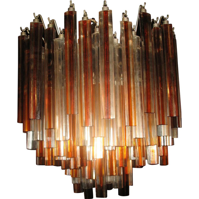 Vintage crystal glass chandelier by Venini Murano 1970