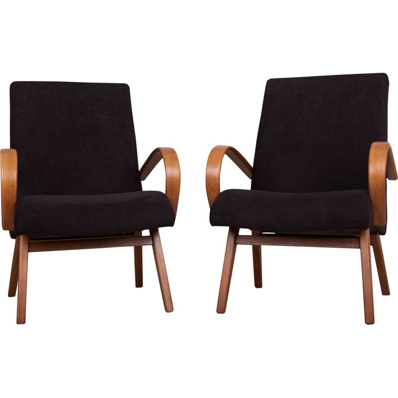 Pair of Model 53 Armchairs by Jaroslav Smidek for TON, 1960