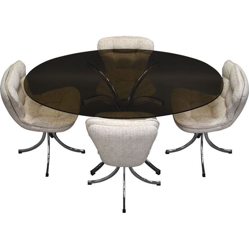 Vintage Italian oval dining set in chrome and smoked glass, Italy 1970