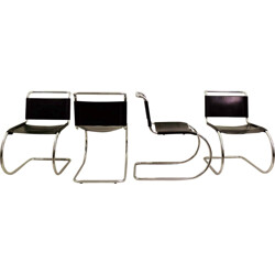 "Set of four ""MR"" chairs in black leather, Ludwig MIES VAN DER ROHE - 1950s"