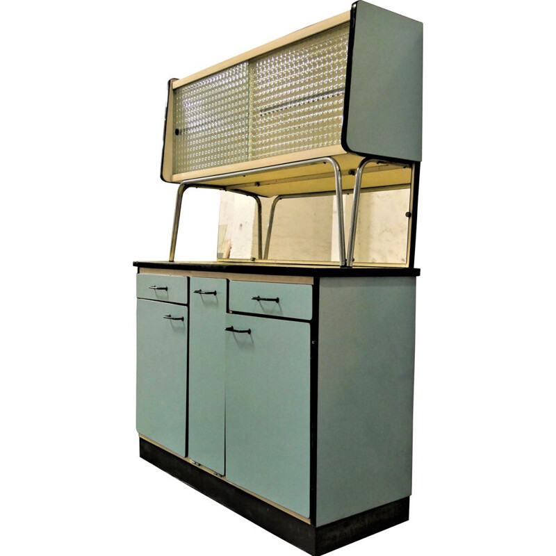 Vintage blue formica kitchen cabinet, 1950