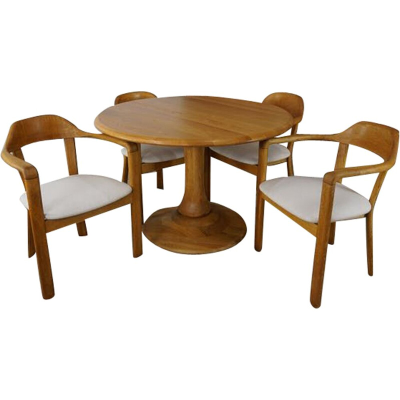 Vintage dining set with round table and 4 matching oak armchairs, 1980