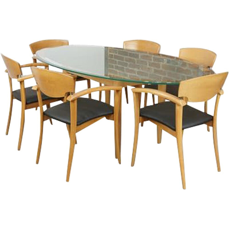 Vintage dining set with glass top, 1980