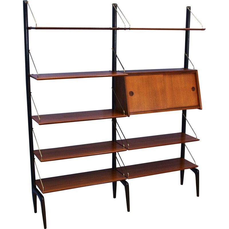 Vintage Dutch wall unit in teak by Louis van Teeffelen for WeBe, 1960s