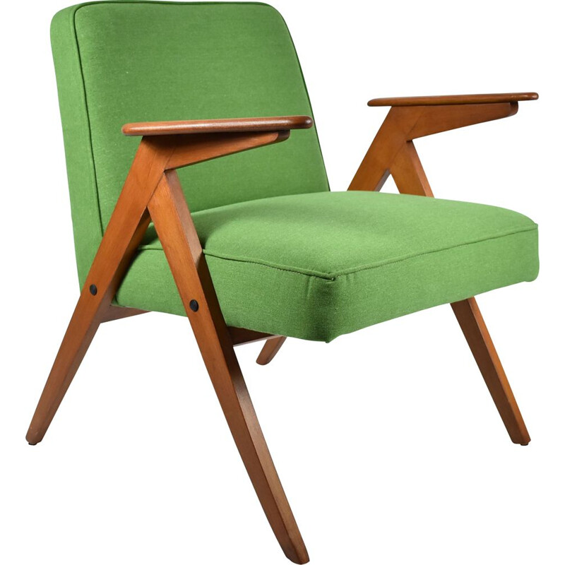 Vintage green fabric Armchair 300-177 Bunny by J. Chierowski, 1960