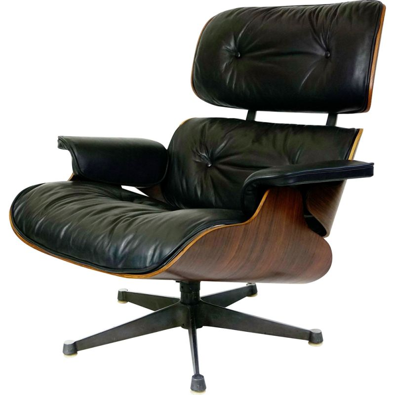 Vintage Rosewood and Black Leather Charles Eames Loungechair by ICF for Herman Miller