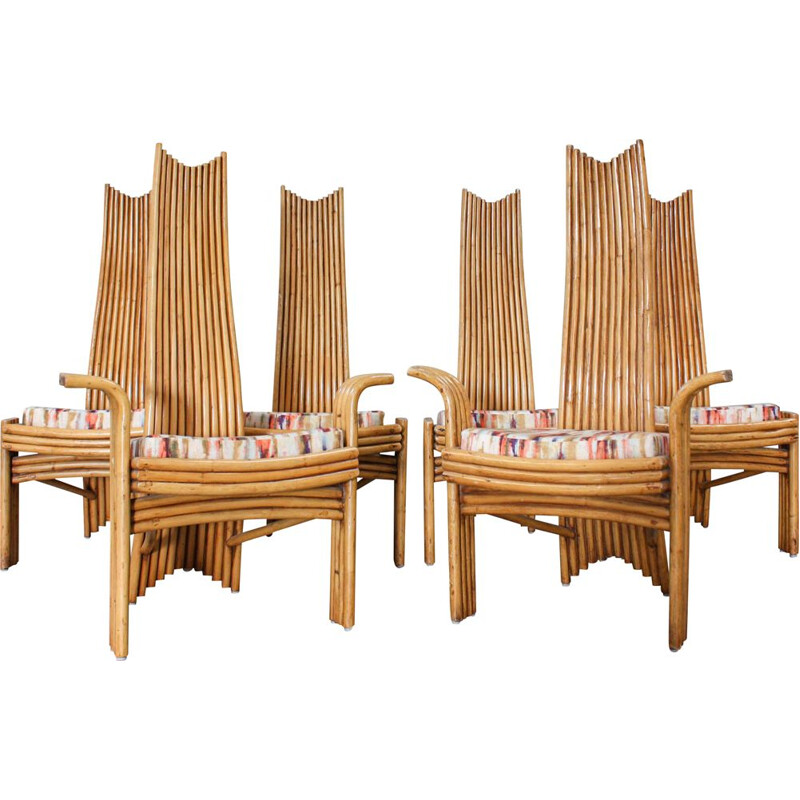 Set of 6 vintage bamboo chairs by Mcguire, 1970