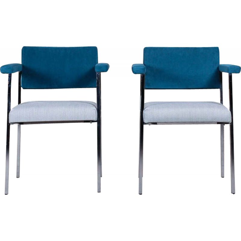 Pair of vintage armchairs with Kvadrat fabric armrests and chromed frame