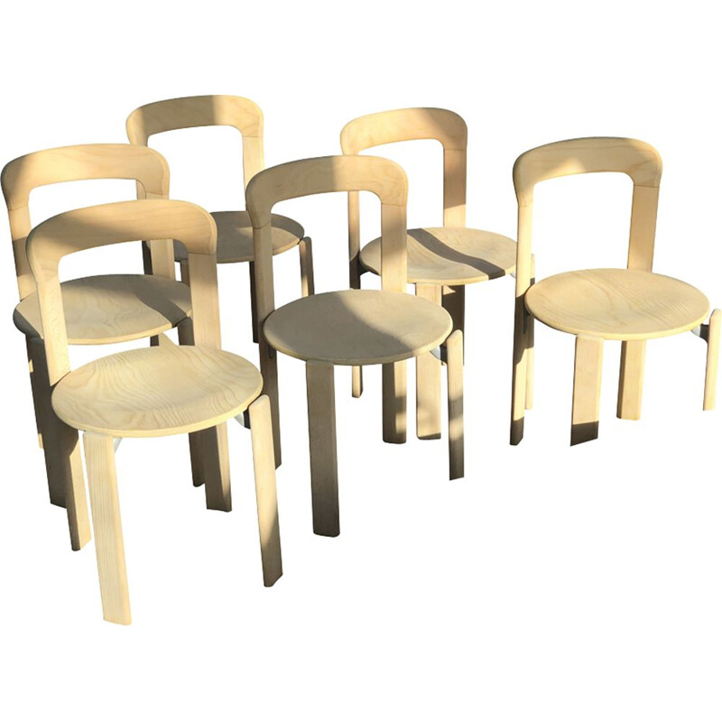 Suite of 6 vintage chairs by Bruno Rey Dietiker Mobilier International Natural 1970