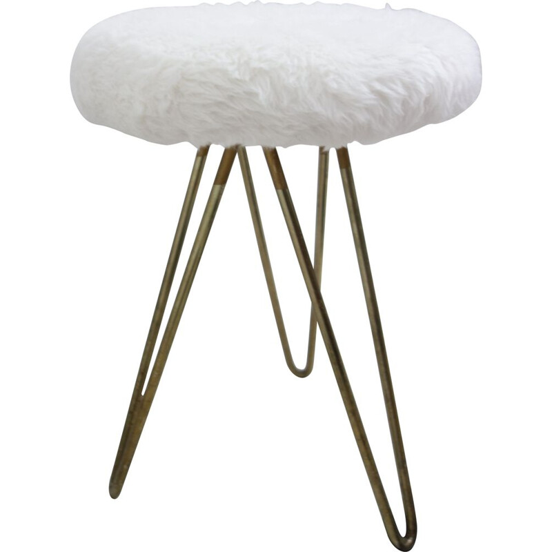 Vintage white stool with hairpin legs, 1960s