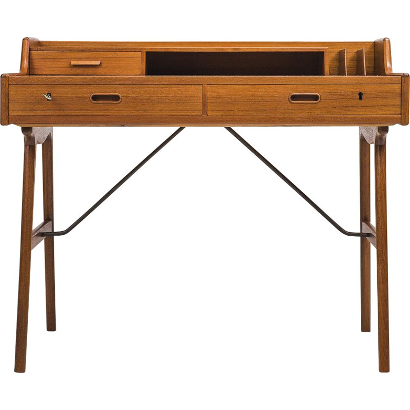Vintage Danish Model 56 Teak Desk by Arne Wahl Iversen, 1961