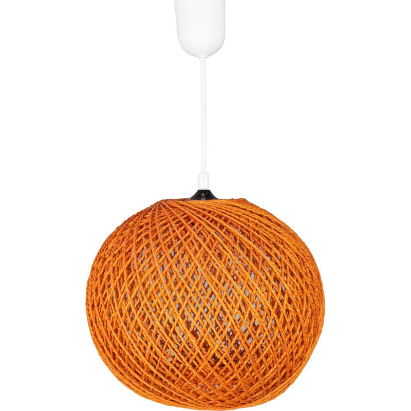 Vintage orange rope hanging lamp 1970