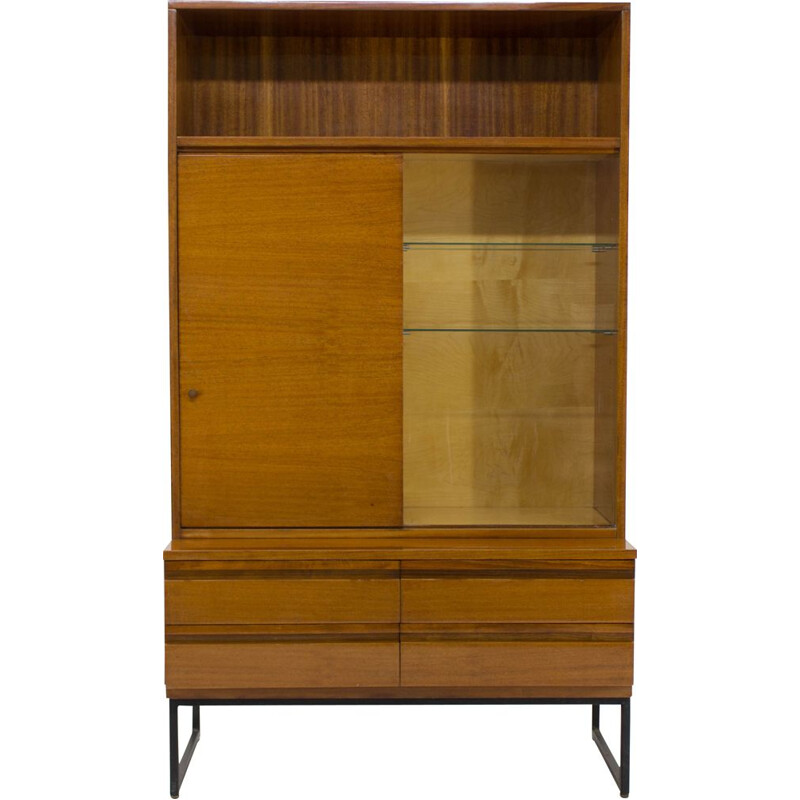 Vintage BELMONDO mahogany cabinet with shelves and drawers with high gloss finish, 1970